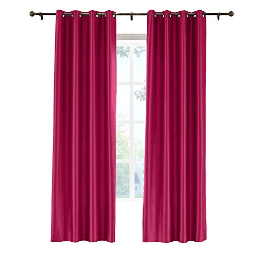 cololeaf Faux Silk Curtains Dupioni Light Reducing Window Curtain Panels for Bedroom Living Room Satin Drapes Privacy Window Treatments, Eyelet Grommet, Burgundy 52