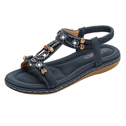 Kauneus Summer Flat Gladiator Sandals for Women Comfortable Casual Beach Shoes Platform Bohemian Beaded Flip Flops Sandals Dark Blue