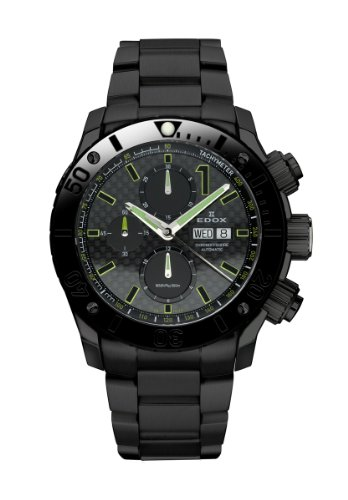 Edox-Mens-01115-37N-NV-Class-1-Automatic-Black-PVD-Chrono-Rotating-Bezel-Steel-Watch