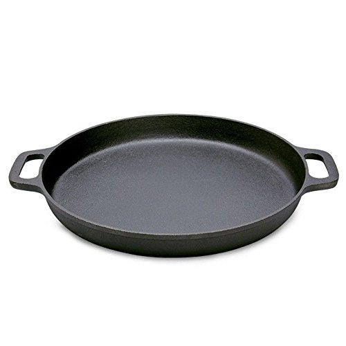 11-inch Pre-Seasoned Cast Iron Round Baking Pizza Frying Pan Cooking Griddle with Double Handles-Perfect for Use on a Stovetop, BBQ, or (Double Crepe Griddle)