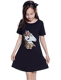 Girls Sequin Applique Shirt Dresses Unicorn Flamingo Summer Cotton T-Shirt 8f8a8741d