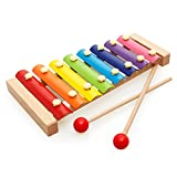 MoTrent Wooden 8 Notes Xylophone - First Musical Instrument for Children, Portable Music Toys for Kids Baby with 2 Wood Mallets