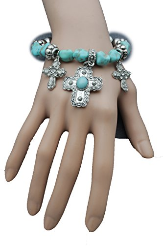 Pop Stars Halloween Costumes 2016 (TFJ Women Elastic Bangle Bracelet Fashion Jewelry Western Cross Turquoise Blue Beads)