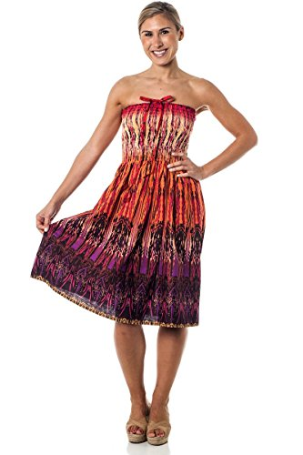 (One-Size-fits-Most Tube Dress/Coverup - Tribal Sparks Orange)