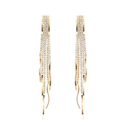 Fashion Bohemia Chandelier Clear Crystal Tassel Link Fringe Women Long Pierced Earrings