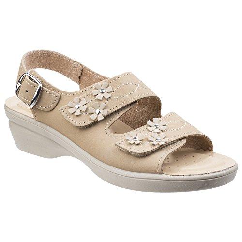 Amaretto Sandals amp; Foster Leather Womens Beige Fleet Touch Ladies Fastening UI8qnU4