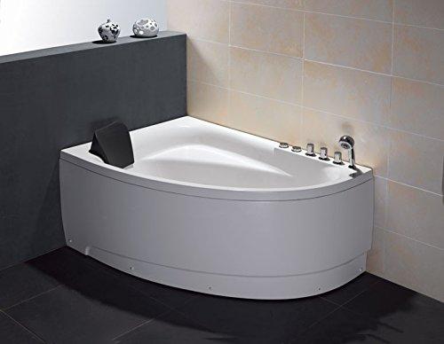 EAGO AM161-R 5' Single Person Corner White Acrylic Whirlpool Bath Tub-Drain on Right (Corner Right Bathtub)