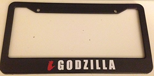 Godzilla with Silhouette - Automotive Black with Red License Plate Frame - (Godzilla License Plate Frame compare prices)