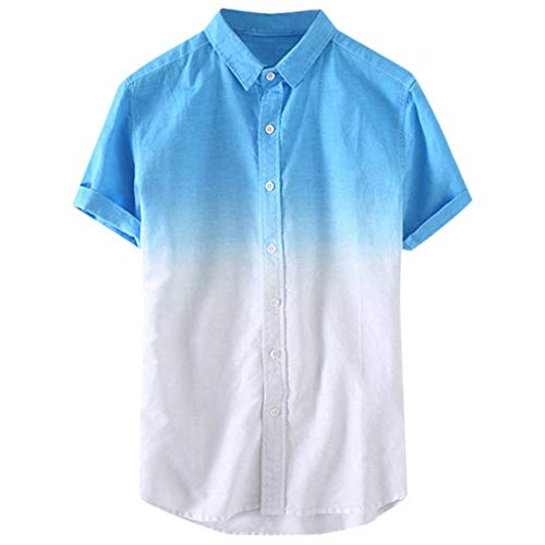 Toimothcn Mens Linen Henly Shirts Short Sleeve Casual Button Up Lightweight Gradient Beach -