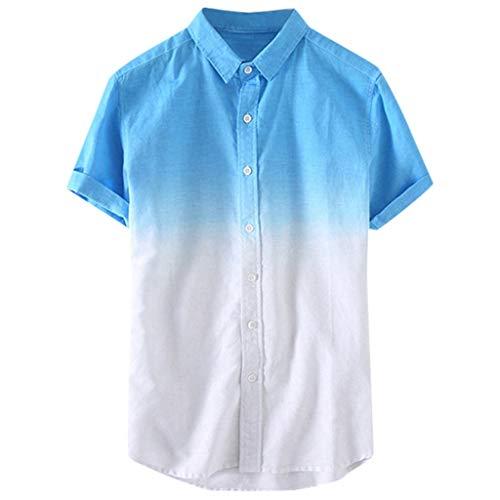 (Beauty&YOP Men's Regular Fit Short Sleeve Plaid Casual Shirt Gradient Tshirt Crewneck T-Shirt Tops Blue)