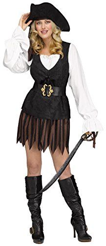 Fun World Rustic Pirate Captain Buccaneer Adult Womens Costume, Multi, Small/Medium -