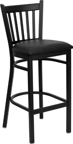 Flash Furniture HERCULES Series Black Vertical Back Metal Restaurant Barstool - Black Vinyl Seat (Vinyl Bar Padded Stools)