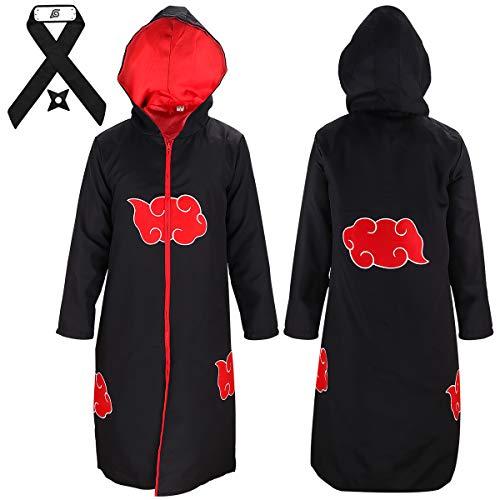Yanhusu Akatsuki Cosplay Uchiha Hooded Robe Cloak Headband Throwing Stars Unisex Halloween Costume(S ()