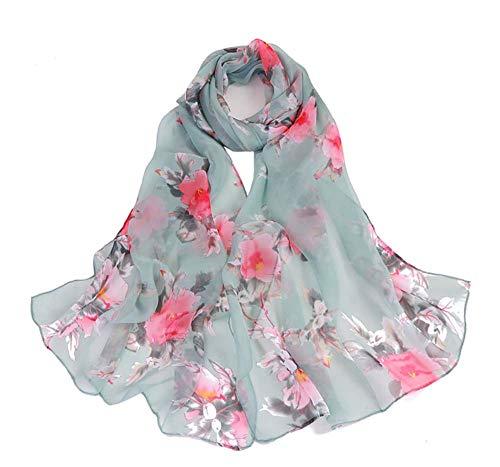 - Print Silk Feeling Scarf Fashion Scarves Lightweight Sunscreen Shawls for Women (peach blossom&Green)