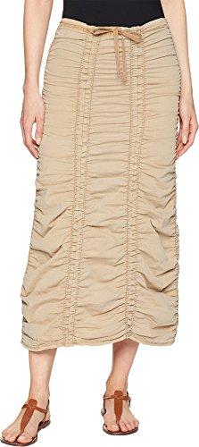 (XCVI Women's Stretch Poplin Double Shirred Panel Skirt Nugget)