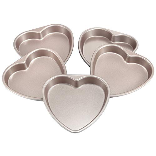 CHEFMADE Layers Cake Pan Set, 6-inch 5Pcs Non-Stick Heart-Shaped Rainbow Cake Bakeware, FDA Approved for Oven Baking (Champagne Gold)