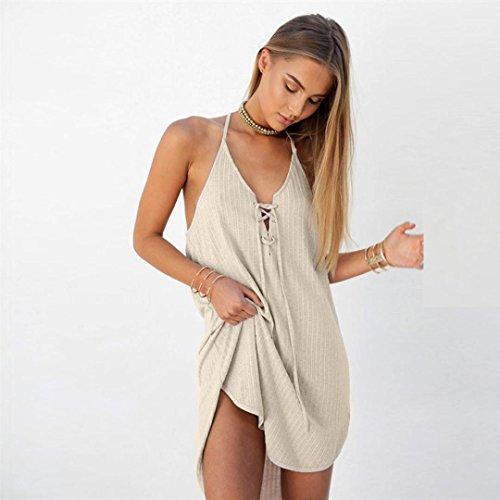 vestidos de mujer,Switchali MujerSólido Sin mangasvestidoEscotado por detrás Casual mini Vestir vestido de playa Traje de baño verano moda algodon ropa mujer