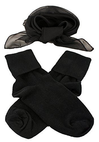 [Black Bobby Socks & Sheer Scarf - Retro 50s Accessory Set] (Made To Measure Belly Dance Costumes)