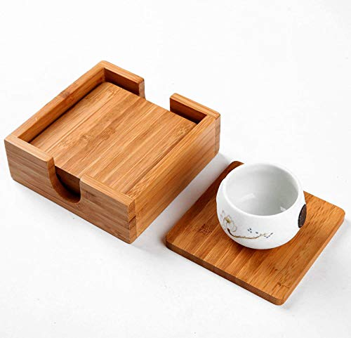 Utoplike Bamboo 4 Pieces Square Coasters set cup mat with Holder 4.25×4.25inches
