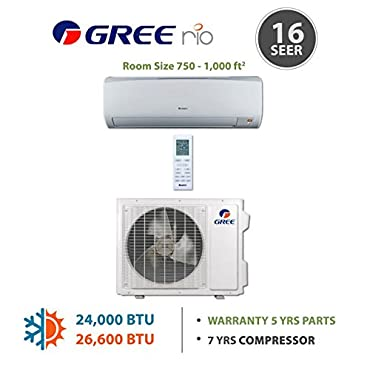 Gree RIO24HP230V1A 24,000 BTU 16 SEER RIO Wall Mounted Ductless Mini Split Air Conditioner with Heat Pump 220V