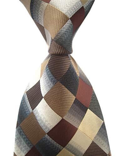 (Secdtie Men's Classic Checks Dark Blue Grey Jacquard Woven Silk Tie Necktie (One Size, Brown))