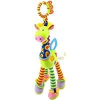 caowrs Baby Hanging Rattles Toys, Newborn Car Seat Stroller Toys for Infant Cartoon Giraffe Bell Soft Rattles Toys for…