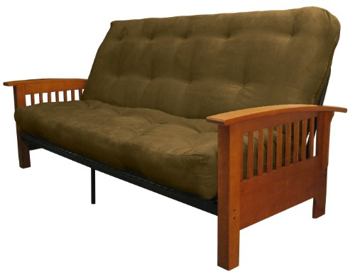 Brentwood Mission-Style True 8-inch Loft Cotton/Foam Futon Sofa Sleeper Bed, Queen-size, Medium Oak Arm Finish, Microfiber Suede Olive Green Upholstery