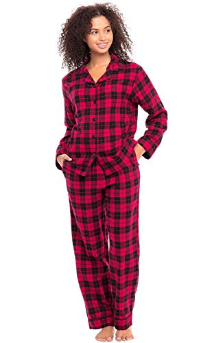 Alexander Del Rossa Women's Warm Flannel Pajama Set, Long Button Down Cotton Pjs, Small Red and Black Tartan Plaid (A0509Q42SM) (Black Flannel Pajama)