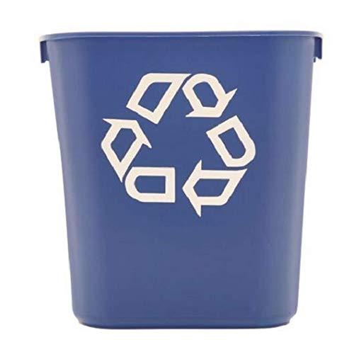 Deskside Container Recycling - Rubbermaid Commercial 295573BE Small Deskside Recycling Container, Rectangular, Plastic, 13.625qt, Blue (4 Trash Cans (13.625 Quarts))