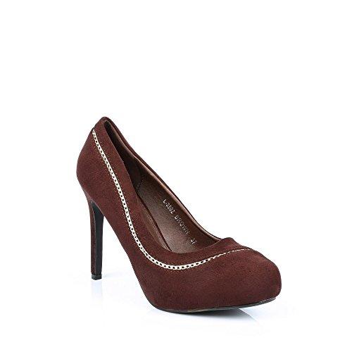 Ideal Shoes Glitzerschuh anzufassen Weich Dekoriert Einer Kette métalisée valene Braun