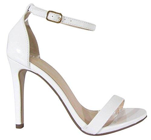 Cambridge Selezionare Donna Open Toe Single Band Fibbia Alla Caviglia Con Cinturino Stiletto Tacco Alto Sandalo Bianco Vernice