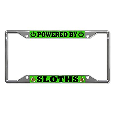 License Plate Covers Powered By Sloths Animal Chrome License Plate Frame Tag Holder Four Holes - Bobbit