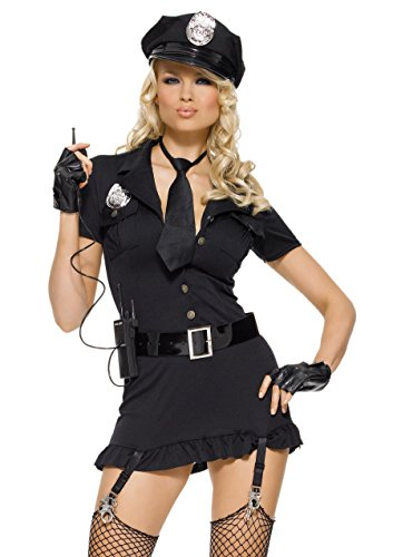 Leg Avenue Women's 6 Piece Dirty Cop Costume, Black, Medium/Large
