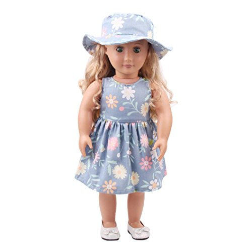 Little Bitty Hat - Vibola Doll clothes by Clearance flower printing Doll dress+ hat DIY Doll Suit For 18 inch Doll Baby Kids Gifts Party Clothes (not included doll) (F)