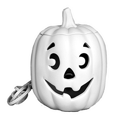 Ready To Paint Ceramic Bisque, Jack-O-Lantern Pumpkin, 7.5 Inch Tall, Includes Electric Light Up Cord & Bulb, and How To Paint Your Own Pottery Booklet