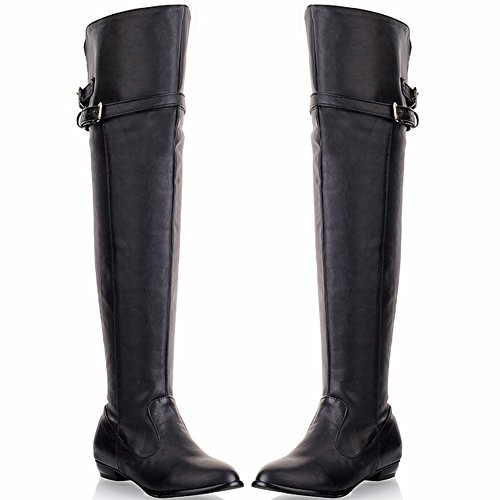High Comfortable Winter BIGTREE By Fall Flat Boots Casual High Thigh Women Black Boots Knee Buckle wZanp0qfp