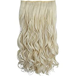 """REECHO 16"""" 1-pack 3/4 Full Head Curly Wave Clips in on Synthetic Hair Extensions Hair pieces for Women 5 Clips 3.9 Oz Per Piece - White Blonde"""