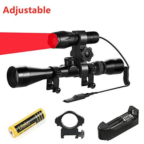 Ulako Red Light 300 Yards Spotlight Flood Light Zoomable Tactical Hunting Flashlight Torch for Hog Pig Coyote Varmint Predator Rifle