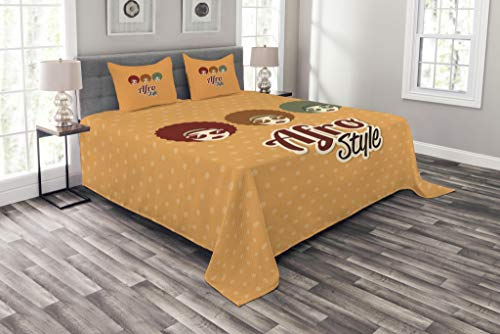 Vintage African Glass - Lunarable Black Woman Bedspread Set Queen Size, Sunglasses African American Culture Elements with Interesting Hairlines Vintage, Decorative Quilted 3 Piece Coverlet Set with 2 Pillow Shams, Multicolor