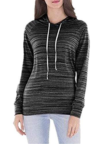 Outerwear Invernali Slim Colori Stripe Coulisse Donna Cappuccio Nero Con Giovane Felpe Fit Manica Hoodie Elegante Moda Pullover Sweatshirts Autunno Lunga Solidi MKHcFpT