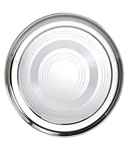 Silver Stainless Steel full Plates - Set Of 6 heavy weight 10 inch diameter