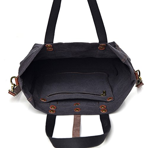 Shoulder Ladies Hobo Bag Women's Totes Gray Handbag Canvas zqUZIC