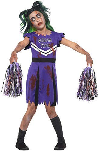 Girls Zombie Scream Leader Cheerleader With Pom-poms Sports Halloween Horror Fancy Dress Costume Outfit (7-9 years) -