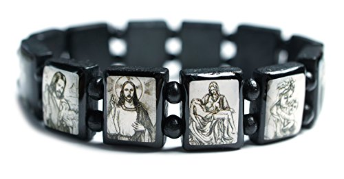 Jesus and Mary Black Bohemian Wood Stretch Bracelet (A Is For Altar B Is For Bible)