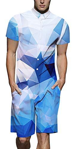 Xiaohudui Mens Diamond 3D Print Button Down Jumpsuit Short Cargo Pants Rompers Slim Fit Party Rave Shorts