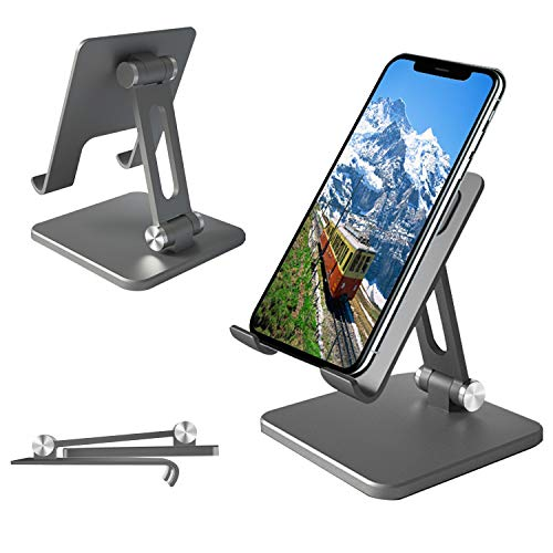 Cell Phone Stand, Adjustable & Sturdy Aluminium Metallic Phone Holder Stand for Desk, Fully Foldable Portable Stand Holder for iPhone,iPad, Mobile Phone, Android Smartphone,Kindle,Tablet