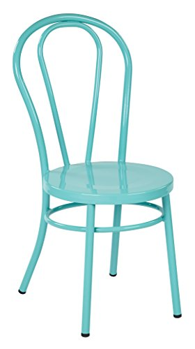 Work Smart OSP Designs OD2918A2-P705-osp Odessa Metal Dining Chair with Backrest 2 Pack , Pastel Teal