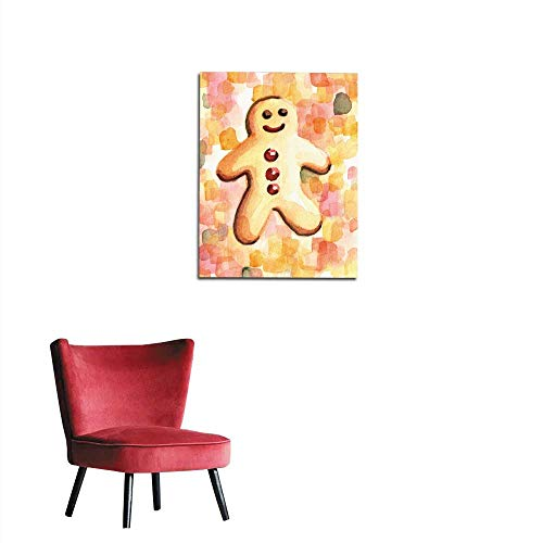 longbuyer Photographic Wallpaper Hand Painted Illustration of Happy Gingerbread Man Mural 20
