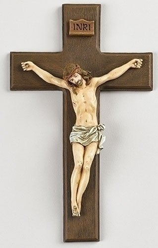 Jesus Crucifix Christ (Inri Jesus Christ 10 inch Resin Stone Wall Cross Crucifix)