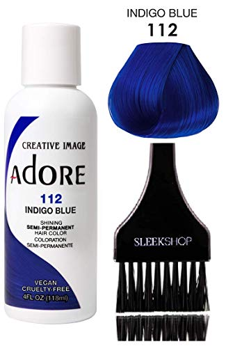 ADORE Creative Image Shining SEMI-PERMANENT Hair Color (STYLIST KIT) No Ammonia, No Peroxide, No Alcohol Haircolor Semi Permanent Dye (112 Indigo Blue)